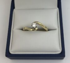 Nice 18k Gold & Diamond Solitaire Ring.  Size O.   0.22 Carats.