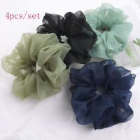 4pcs Oversize Organza Hair Ring Chiffon Scrunchie Elastic Rubber Band Hair Ties