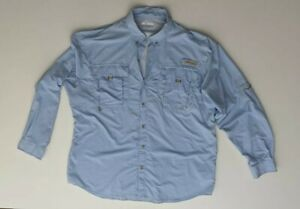 Columbia PFG  Blue Long Sleeve Button Up Shirt Top Pockets Fishing Size L