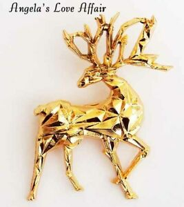 CHRISTMASY GOLD CHRISTMAS XMAS ORIGAMI DEER BUCK STAG ANTLERS BROOCH BADGE PIN