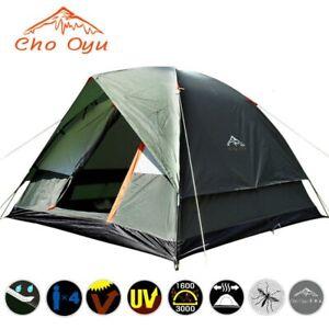 4 Person Windbreak Camping Tent Dual Layer Waterproof Pop Up Open Anti UV Tent