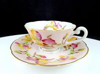 """SPOTO JAPAN SCALLOPED RIM FLORAL 1 3/4"""" DEMITASSE FOOTED CUP AND SAUCER SET"""