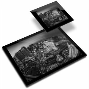Glass Placemat  & Coaster BW - Las Vegas Nevada Casino City  #35796