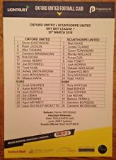 Oxford United v Scunthorpe United - League 1 -Team-Sheet - 30/03/2018 - Mint