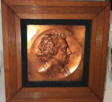 Antique 1885 D.B. SHEAHAN NY PARK SCULPTOR Copper Relief Plaque of R.B. Sheridan