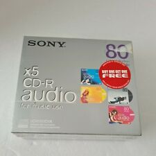 More details for new sealed 5 x sony cd-r audio pack music use - 80 color collection recordable