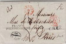 Lettre/Cover Poland Varsovie Big Taxe 1845 Rothschild