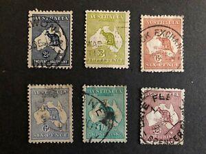 Australia #46-52 Wmk.10 1915-24 Used