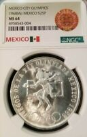 1968 MEXICO SILVER 25 PESOS OLYMPICS EVEN RINGS NGC MS 64 TOP QUALITY COIN !!!