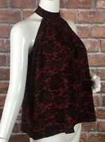 Michael Kors Halter Top Womens Size XS Sleeveless Cinnabar Print (Z31)
