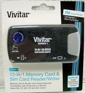 Vivitar 72-In-1 Plug & Play Memory Card Reader/Writer + 2-Port USB 2.0 Hub | New
