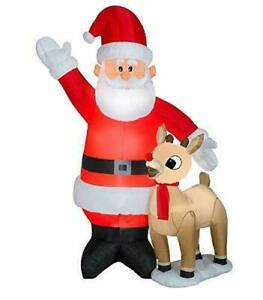 Rudolph The Red Nose Reindeer & Santa 7.5' Inflatable Light Up Yard Decor NEW