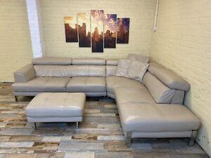 Alluring Large Cream Leather Corner Sofa