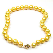 """17.5"""" 11-14mm AAA Genuine Cultured Golden Pearl Necklace W/ Gold Clasp"""