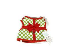 Martha Stewart Dog Harness Vest XS Polka Dot Present Green Red Pet Apparel New