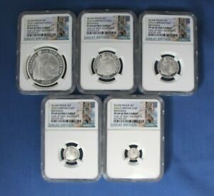 2016 Royal Mint 5 coin Silver Proof Britannia Set NGC Graded PF69 with COA