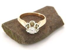 Solitäre Echte Diamanten-Ringe aus mehrfarbigem Gold mit Brilliantschliff