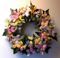 ALL Butterflies Lighted Pastel Butterfly and Greenery Wreath 17""