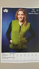 Heirloom Knitting Pattern #482 to Knit Ladies Vest With Collar in 10 Ply Yarn