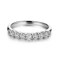 Moissanite Engagement Band Ring Size 5.5 0.7Ctw Seven Stone Sterling Silver 925