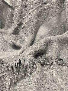 "Restoration Hardware Alpaca Boucle Textured Stripe Throw 50"" x 70"" Fog/Gray"