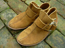 Vintage Brown Suade Leather Ring Moccasin ankle boot mens/womens  7 1/2 M BOHO