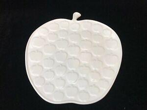 """Jonathan Adler White Stoneware Whimsical Apple Serving Plate Platter, 13"""" x 14"""""""