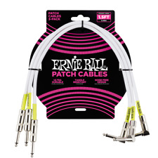 Ernie Ball 1.5' Straight / Angle Patch Cable 3-Pack White