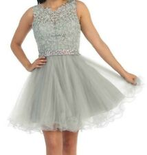 DANCING QUEEN 9159 FANCY PARTY PROM FORMAL HOLIDAY DRESS OUTFIT S SMALL SILVER