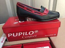 Ladies Navy/Red Leather Heeled Comfort Shoes Size 4