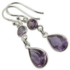 Natural AMETHYST Gemstones Fashionable Dangle Earrings 925 Solid Sterling Silver