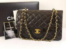 """rk386 Auth CHANEL Black Quilted Lambskin 10"""" CC Double Flap Chain Shoulder Bag"""