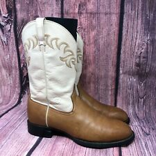 Ariat Hertiage Women's Tan & Ivory Leather Wester Cowgirl Roper Boots Size 10