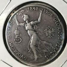 AUSTRIA 1908 SILVER FIVE CORONA SCARCE CROWN COIN