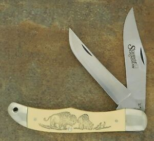SCHRADE USA 1982 SCRIMSHAW BISON SCENE FOLDING HUNTER KNIFE SC508
