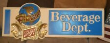 "Schlitz Beer Beverage Dept Large plastic sign globe 1977 40"" long Milwaukee"