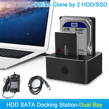 All in 1 USB 3.0 SATA Dual Bay Hard Drive Docking OFFLIN Cloning Station HDD SSD
