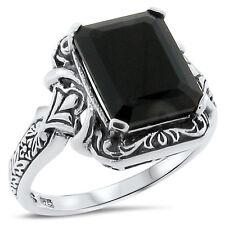 Sterling Silver Ring Size 5, #171 Genuine Black Agate Antique Design 925