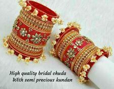 Rajwadi Dulhan Set Wedding Kundan Chura Bridal Bangle Red Pearl Acrylic Plastic