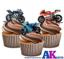 PRECUT Motorbikes MotoGP Ducati Suzuki Yamaha 12 Edible Cupcake Toppers Birthday