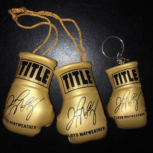 Floyd Mayweather Autographed Mini Boxing Gloves & Keyring GOLD LIMITED EDITION