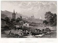 SPOLETO: Panorama. Valle Umbra. Perugia. Umbria. ACCIAIO. Stampa Antica. 1831