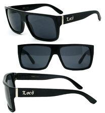 Locs Mens Cholo Uv400 Biker Flat Top Sunglasses - Shiny Black LC81