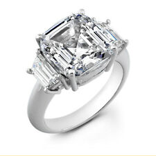 2.10 Ct 3 Stone Asscher Cut Square Diamond Engagement Ring With Trapezoids 14K