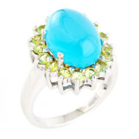 100% NATURAL 14X10MM BLUE CHALCEDONY & PERIDOT STERLING SILVER 925 RING SIZE 8