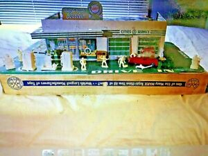 Vintage 1950's Marx Cities Service Gas Station Playset w/ Box