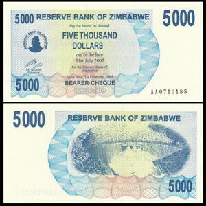 Zimbabwe 5000 Dollars, 2007, P-45, Banknote, UNC