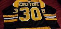 "Gerry Cheevers Signed Boston Bruins Jersey Inscribed ""HOF 85"" (JSA) Goaltender"