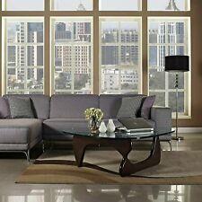 Noguchi Coffee Table Replica Herman Miller Style Glass Top Wood Dark Walnut