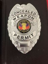 NEW IN BOX    Concealed Carry (SILVER) Badge And Wallet Black